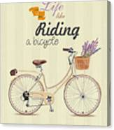 Bicycle With Lavender In Basket. Poster Canvas Print