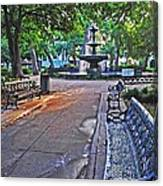 Bienville Square And The Bench 2 Canvas Print