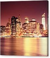 Big Apple - Night Skyline - New York City Canvas Print