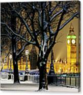 Big Ben And Houses Of Parliament In Snow Canvas Print