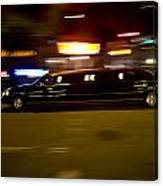 Big Black Limo Cruising Through The City Canvas Print