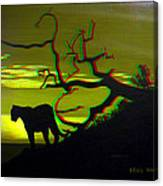 Big Cat Silhouette -  Use Red-cyan 3d Glasses Canvas Print
