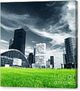 Big City And Green Fresh Meadow Canvas Print
