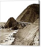 Big Creek Bridge Double Arched Concrete Bridge On Highway 1. About 40 Miles South Of Monterey  1935 Canvas Print