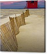 Big Red Lighthouse With Sand Fence At Ottawa Beach Canvas Print
