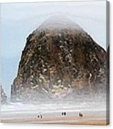 Big Rock On The Oregon Coast With Fog Canvas Print