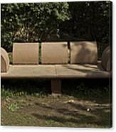 Big Stone Bench Inside The Garden Of 5 Senses Canvas Print