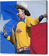 Big Tex And The Lone Star Flag Canvas Print