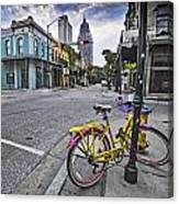 Bike And 3 Georges In Mobile Alabama Canvas Print