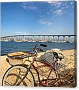 Bike And A Brdige Canvas Print