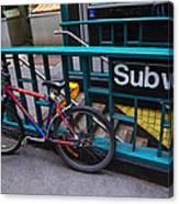 Bike At Subway Entrance Canvas Print