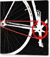 Bike In Black White And Red No 2 Canvas Print