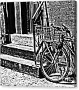 Bike In The Sun Black And White Canvas Print