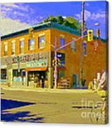 Biking By The Bakery On Bank The Glebe Nicastro Foods And David's Tea Ottawa Streetscene Cspandau    Canvas Print