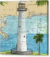 Biloxi Lighthouse Ms Nautical Chart Art Cathy Peek Canvas Print