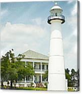 Biloxi Lighthouse Sketch Photo Canvas Print