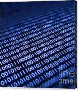 Binary Code On Pixellated Screen Canvas Print