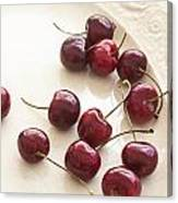 Bing Cherries And White Plate Canvas Print