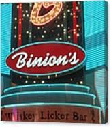 Binions Whiskey Licker Bar Canvas Print