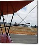 Biplane Taxying Back To Tie Down Canvas Print