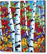 Birches In Abstract By Prankearts Canvas Print