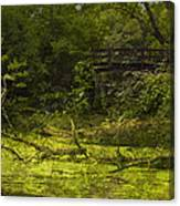 Bird By Bridge In Forest Merged Image Canvas Print