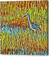 Bird In The Reeds Canvas Print