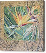 Bird Of Paradise With Tapa Cloth Canvas Print