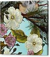 Bird On Pine Branch Canvas Print