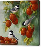 Bird Painting - Apple Harvest Chickadees Canvas Print