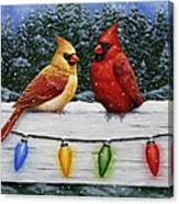 Bird Painting - Christmas Cardinals Canvas Print