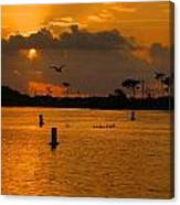 Birds And Bouys Sunrise Canvas Print