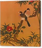 Birds Bamboo And Camellias Canvas Print