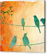 Birds Gathered On Wires-5 Canvas Print
