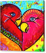 Birds In Love Pop Art Canvas Print