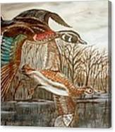 Birds Landing Canvas Print