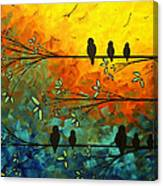 Birds Of A Feather Original Whimsical Painting Canvas Print