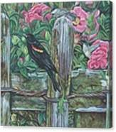 Birds On A Fence Canvas Print