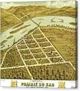 Birdseye View Of Prairie Du Sac Wisconsin 1870 Canvas Print