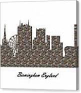 Birmingham England 3d Stone Wall Skyline Canvas Print