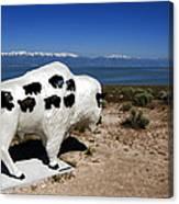Bison Sculpture Great Salt Lake Utah Canvas Print