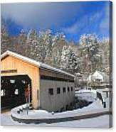 Bissell Covered Bridge In Winter Canvas Print