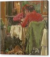 Bistro In Beziers, 2007 Pastel On Paper Canvas Print