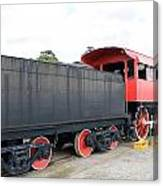 Black And Red Steam Engine Canvas Print