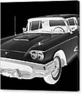 Black And White 1958  Ford Thunderbird  Car Pop Art Canvas Print