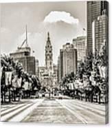 Black And White Benjamin Franklin Parkway Canvas Print