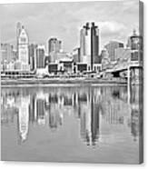 Black And White Cincinnati Panoramic Canvas Print