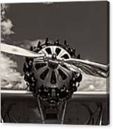 Black And White Close-up Of Airplane Engine Canvas Print