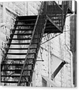 Black And White Fire Escape Usa Near Infrared Canvas Print