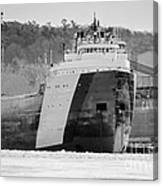 Black And White Freighter Canvas Print